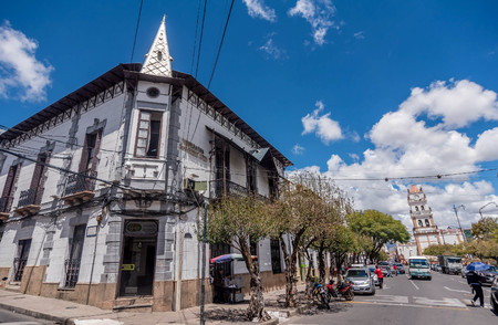 Street in Sucre city capital of Bolivia