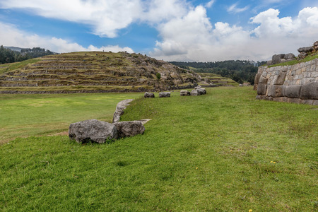 Cusco, Peru Heritage site of Saksaywaman Inca fortress from 15 century Stock Photo