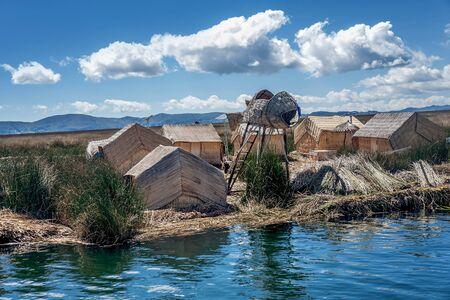 navigable: Totora reed islands neer Puno, Peru