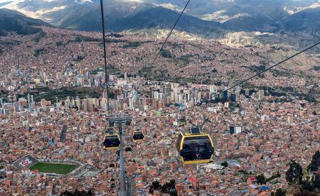 Kabelwagens in La Paz, Bolivia Redactioneel