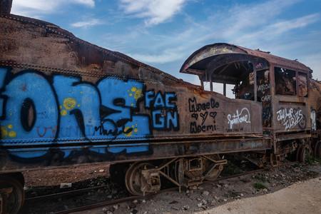 bolivian: Rusty old steem train at train cemetery in Bolivia