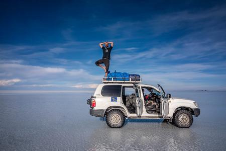 Off- road car on lake Salar de Uyuni, Bolivia