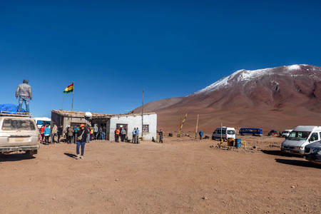 Tourist come to border patrol point of Chile- Bolivia