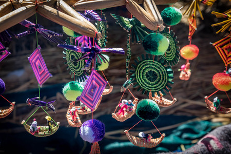 navigable: The souvenirs from floating islands on lake Titicaca, Puno, Peru