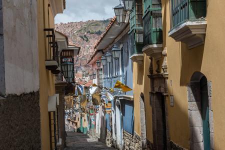Historic street in La Paz, Bolivia Banco de Imagens