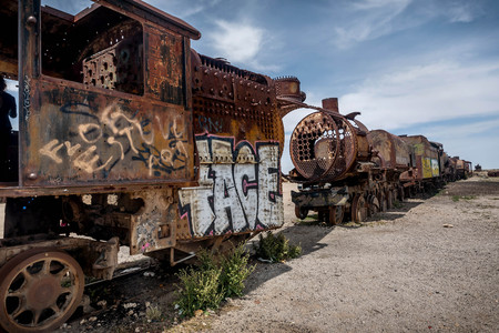 Rusty old steem train at train cemetery in Bolivia