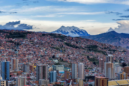 Panoramic view of La Paz, Bolivia 스톡 콘텐츠