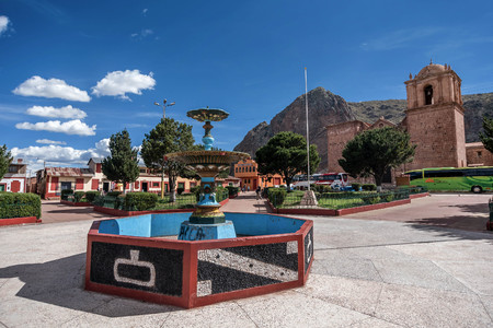 Fountane in front of Santiago de Pupuka Church in Pukara, Peru