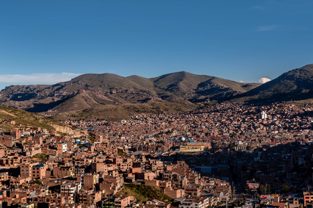 island: View of Puno by Titicaca lake, Peru