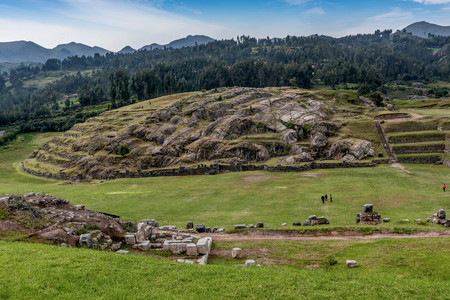 Cusco, Peru Heritage site of Saksaywaman Inca fortress from 15 century Editorial
