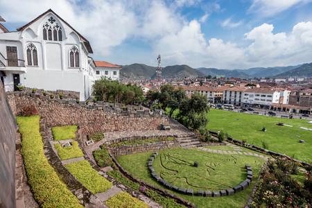 Qurikancha with Convent  of Santo Domingo above in Cusco, Peru