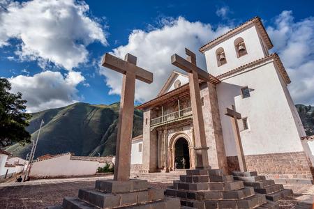 San Pedro Apostol Church in Andahuaylillas, Cusco Stock Photo