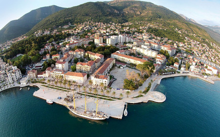 Aerial view of Tivat town and Porto Montenegro 스톡 콘텐츠