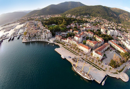 Aerial view of Tivat town and Porto Montenegro Banco de Imagens