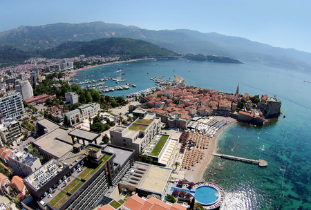 Aerial view of old town  Budva, Montenegro