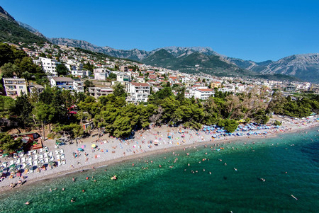 Beach in Bar town located on the Adriatic sea in Montenegro