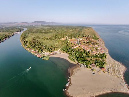 Aerial view of the river Bojana and the Ada Bojana island, Montenegro