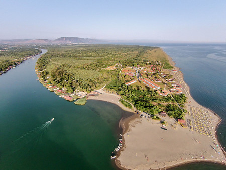 Aerial view of the river Bojana and the Ada Bojana island, Montenegro
