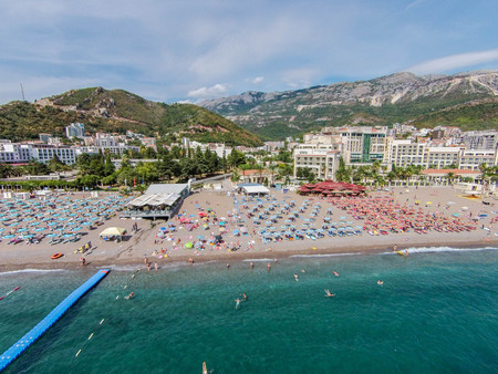 Aerial view of Becici beach in Budva town, Montenegro 報道画像