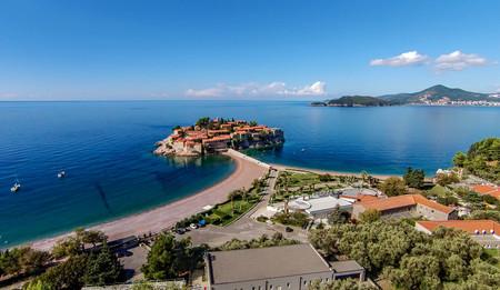Aerial view of the Island of Sveti Stefan, Montenegro 写真素材