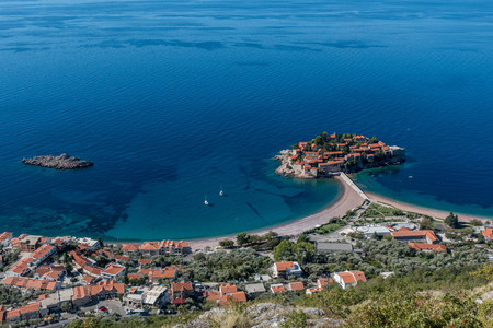 Aerial view of the Island of Sveti Stefan, Montenegro 스톡 콘텐츠