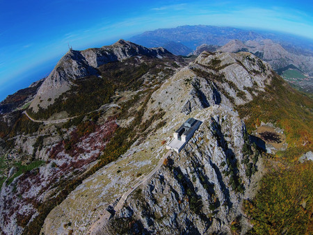 View of the building Njegos Mausoleum in National Park Lovcen, Montenegro