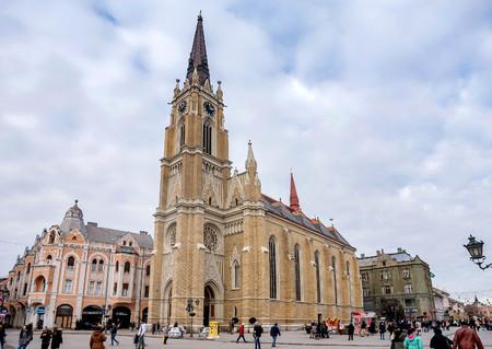 Novi Sad, Serbia- December 23, 2017: Roman Catholic Cathedral in Novi Sad, Serbia
