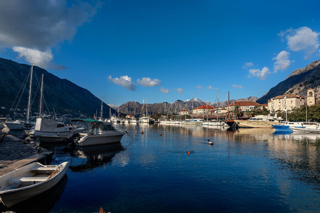 View of Kotor Port near the old Town of Kotor, Montenegro Stock Photo
