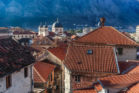 Red roofs in the old Town of Kotor, Montenegro