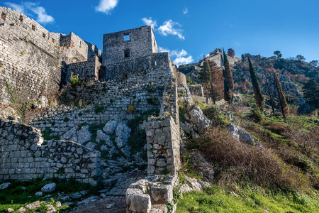 Walls above the old town of Kotor, Montenegro