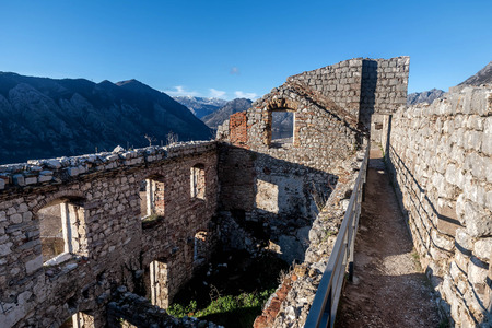 San Giovani Fortress walls above the old town of Kotor, Montenegro Editorial