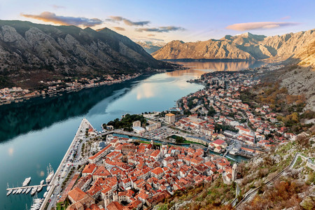 Aerial view of the old town of Kotor, Montenegro