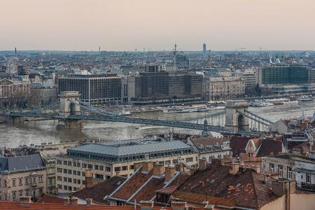 Cityscape of Buda from Pest across Danube river, Budapest, Hungary