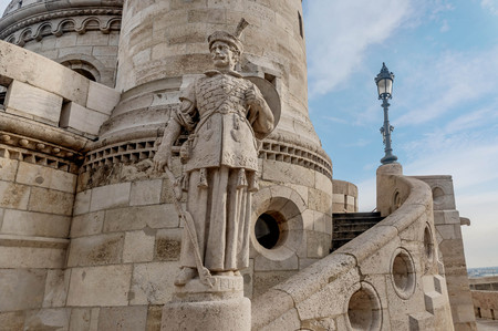 Statue at Fisherman Bastion, Buda Castle  in Budapest, Hungary Editorial