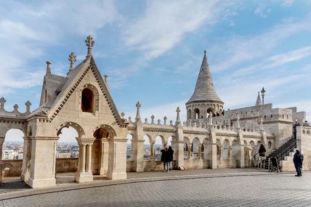 Budapest, Hungary- January 9, 2018: Fisherman Bastion, Buda Castle  in Budapest, Hungary Editorial