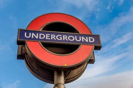 Underground Station sign in London, United Kingdom