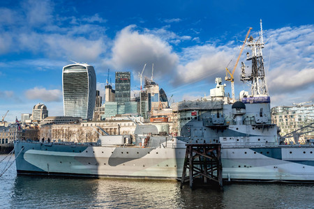 London, UK- January 10, 2018:HMS Belfast warship and a  view across the River Thames with the financial skyscrapers of the city of London, UK
