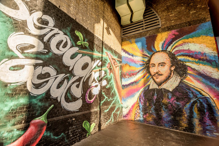 London, UK- January 10, 2018:Street art paintings on the wall in London, UK