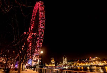 London, UK- January 10, 2018:London Eye Giant Ferris Wheel illuminated at night in London, UK