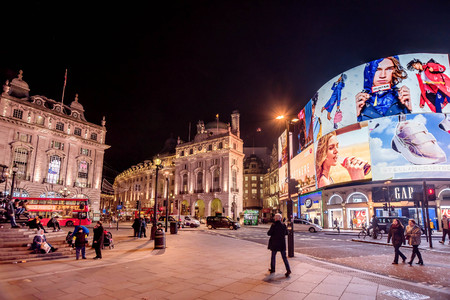 London, UK- January 10, 2018:Piccadilly Circus with billboards,people and city traffic in London, UK Editorial