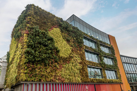 London, UK- January 11, 2018:Building in London covered with green ivy Editorial