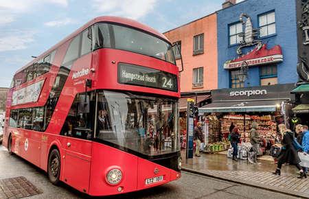 London, UK- January 11, 2018:A modern double decker bus on the street in London, UK