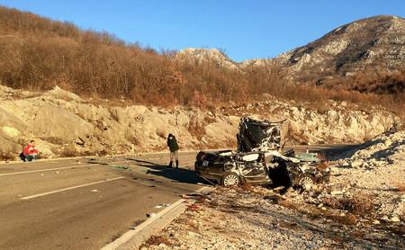 Podgorica, Montenegro- January 28, 2018:Car crash accident scene in Montenegro Stock Photo