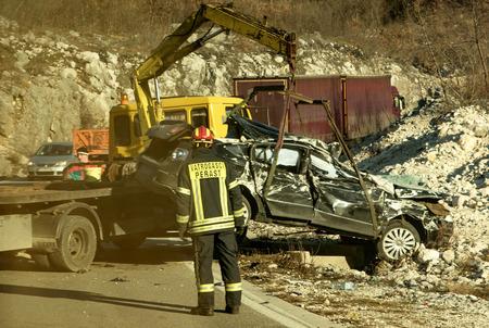 Podgorica, Montenegro- January 28, 2018:Car crash accident scene in Montenegro 版權商用圖片