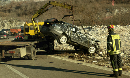 Podgorica, Montenegro- January 28, 2018: Car crash accident scene in Montenegro
