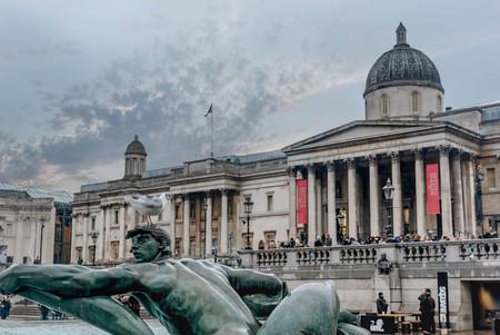 London, UK- January 11, 2018:The Fountain in Trafalgar Square in London, UK