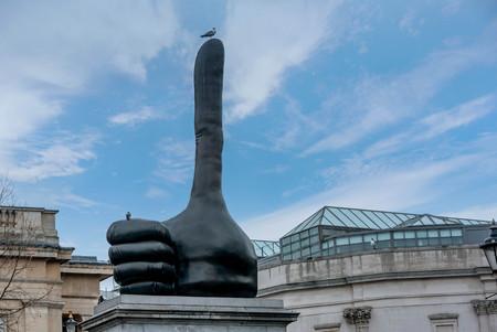 Hand Statue at Trafalgar Square in London, UK Stock Photo