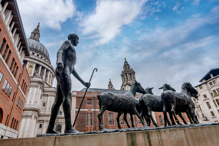 London, UK- January 12, 2018: Shepherd and Sheep by Dame Elisabeth Frink Paternoster Square City of London