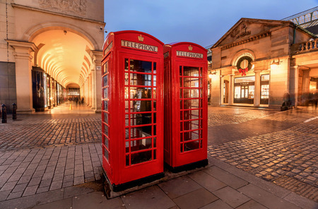 Traditional Red Telephone Box in London, UK