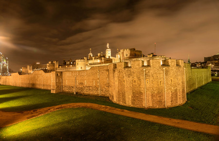 Medieval Stone Tower in London at night, UK